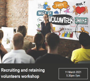 Logo image for Recruiting and retaining volunteers workshop Mar 2021